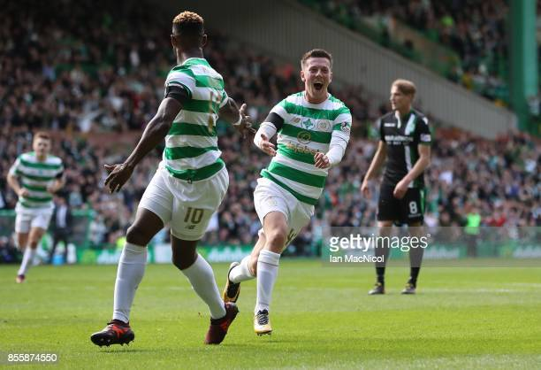 Callum McGregor of Celtic celebrates after he scores the opening goal during the Ladbrokes Scottish Premiership match between Celtic and Hibernian at...