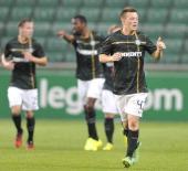 Callum McGregor of Celtic celebrates after scoring during the third qualifying round UEFA Champions League match between Legia and Celtic at Pepsi...