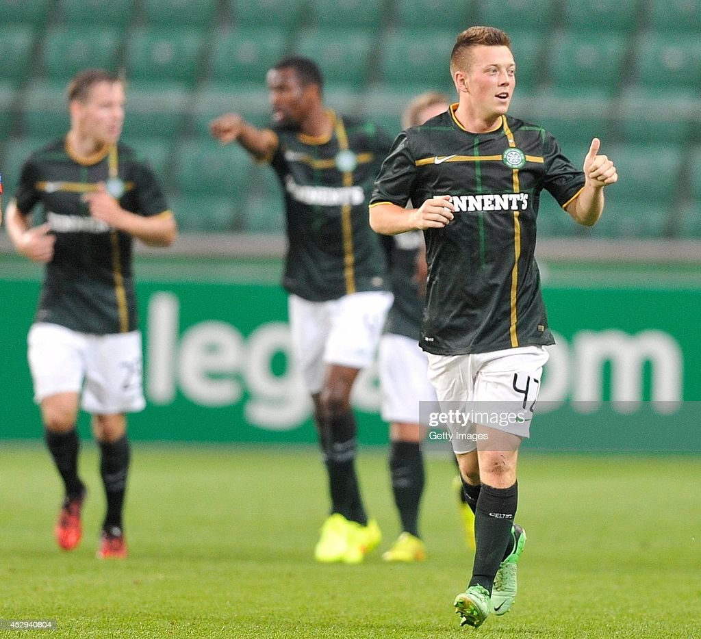 Callum McGregor of Celtic celebrates after scoring during the third qualifying round UEFA Champions League match between Legia and Celtic at Pepsi Arena on July 30, 2014 in Warsaw, Poland.