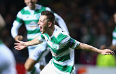 Callum McGregor of Celtic celebrates as he scores their first goal during the UEFA Europa League Group A match between Celtic FC and AFC Ajax at...