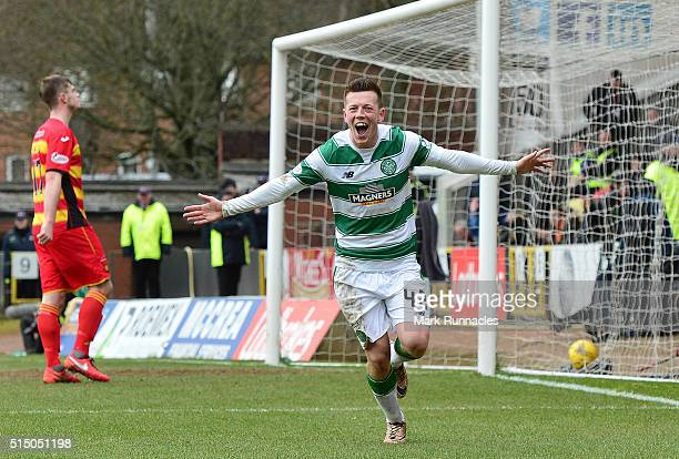 Callum McGregor of Celtic celebrates scoring a goal in the second half during the Ladbrokes Scottish Premiership match between Patrick Thistle FC and...