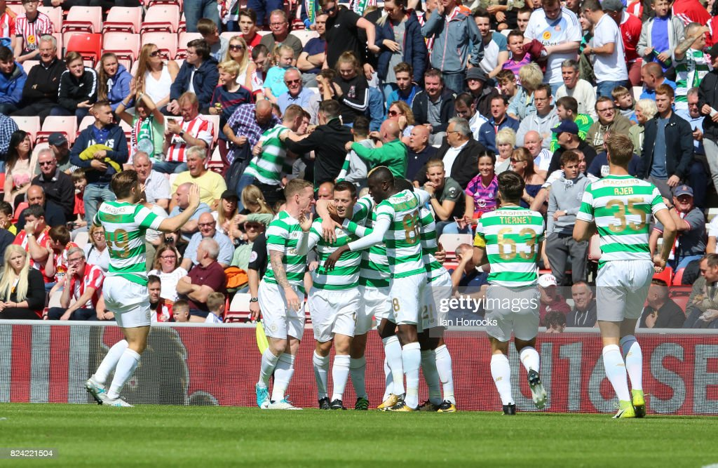 Callum McGregor of Celtic (C) celebrates scoring the first goal during a pre-season friendly match between Sunderland AFC and Celtic at the Stadium of Light on July 29, 2017 in Sunderland, England.