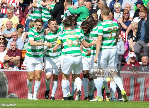 Callum McGregor of Celtic celebrates scoring the first goal during a preseason friendly match between Sunderland AFC and Celtic at the Stadium of...
