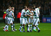 Callum McGregor of Celtic celebrates with team mates as he scores their first goal during the UEFA Europa League Group A match between Celtic FC and...