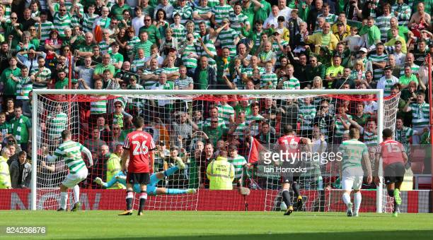 Callum McGregor of Celtic scores his hattrick from the spot during a preseason friendly match between Sunderland AFC and Celtic at the Stadium of...