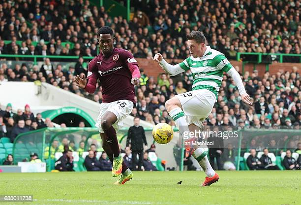 Callum McGregor of Celtic scores the opening goal during the Ladbrokes Scottish Premiership match between Celtic and Heart of Midlothian at Celtic...