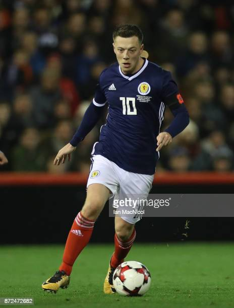 Callum McGregor of Scotland controls the ball during the International Friendly between Scotland and Netherlands at Pittodrie Stadium on November 9...