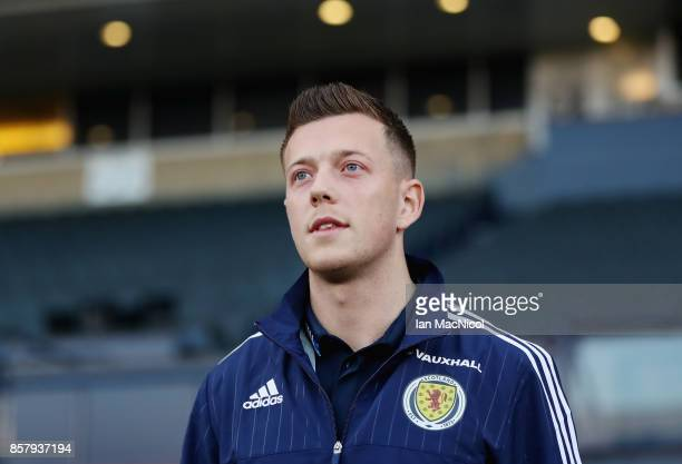 Callum McGregor of Scotland looks on prior to the FIFA 2018 World Cup Group F Qualifier between Scotland and Slovakia at Hampden Park on October 5...