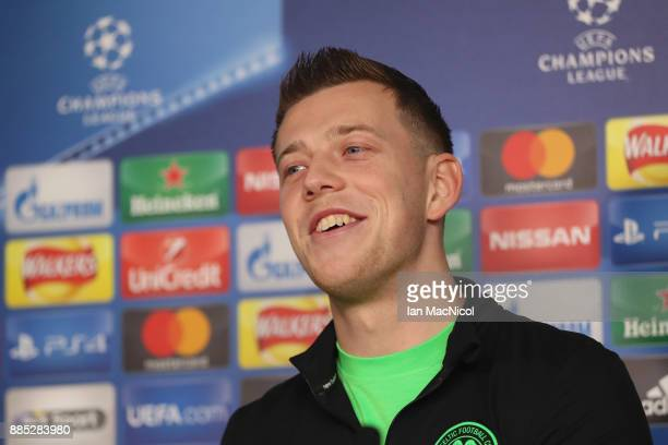Callum McGregor speaks during a Celtic press conference on the eve of their UEFA Champions League match against Anderlecht at Lennoxtown Training...