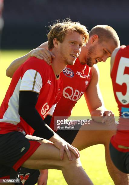 Callum Mills and Sam Reid of the Swans train during a Sydney Swans AFL training session at Sydney Cricket Ground on July 4 2017 in Sydney Australia