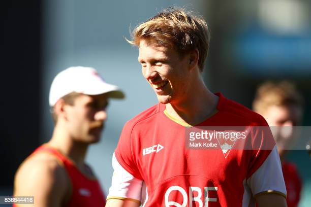Callum Mills laughs during a Sydney Swans AFL training session at Sydney Cricket Ground on August 22 2017 in Sydney Australia