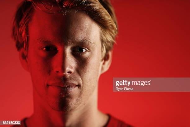 Callum Mills of the Swans poses during a portrait session at the SCG on February 14 2017 in Sydney Australia
