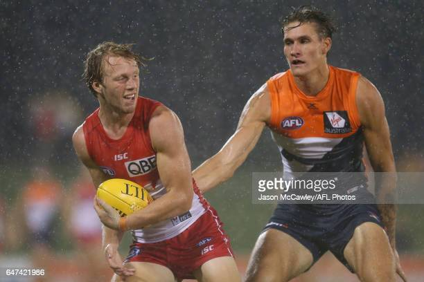 Callum Mills of the Swans takes a mark during the 2017 JLT Community Series AFL match between the Greater Western Sydney Giants and the Sydney Swans...