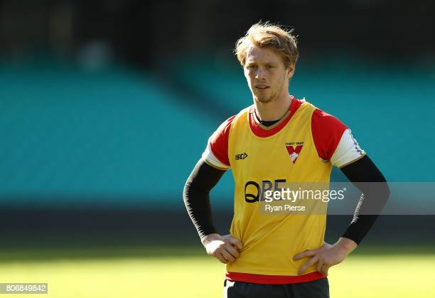 Callum Mills of the Swans trains during a Sydney Swans AFL training session at Sydney Cricket Ground on July 4 2017 in Sydney Australia