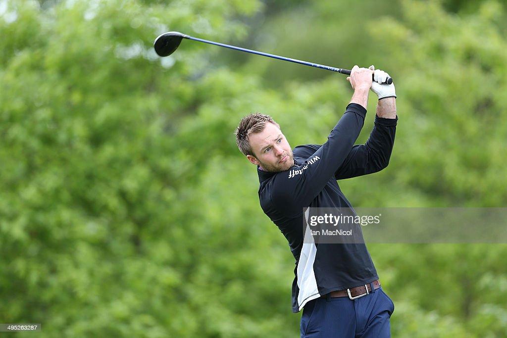 KINGDOM - JUNE 02 Callum Nisbet of Bathgate Golf Club tee's off at the first during the Powerade PGA Assistants' Championship - Scottish Regional Qualifier at Auchterarder Golf Club on June 02, 2014 in Auchterarder, Scotland.