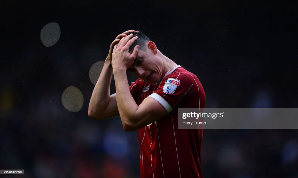 Callum O'Dowda of Bristol City cuts a dejected figure during the Sky Bet Championship match between Bristol City and Leeds United at Ashton Gate on October 21, 2017 in Bristol, England.