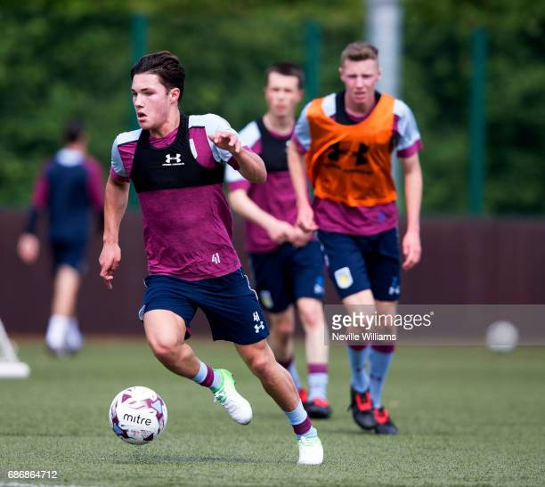 Callum O'Hare of Aston Villa in action during a Aston Villa U23's training session at the club's training ground at Bodymoor Heath on May 22 2017 in...