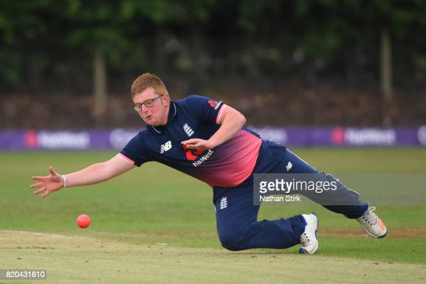 Callum Rigby of England runs attempts to stop the ball during the INAS Learning Disability TriSeries Trophy Final match between England and South...