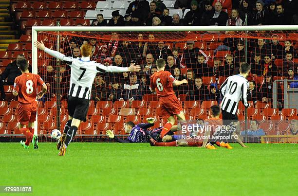 Callum Roberts of Newcastle celebrates his goal during the Barclays Premier League Under 21 fixture between Liverpool and Newcastle United at Anfield...