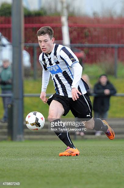 Callum Roberts of Newcastle in action during the Barclays Premier League Under 18 fixture between Liverpool and Newcastle United at the Liverpool FC...