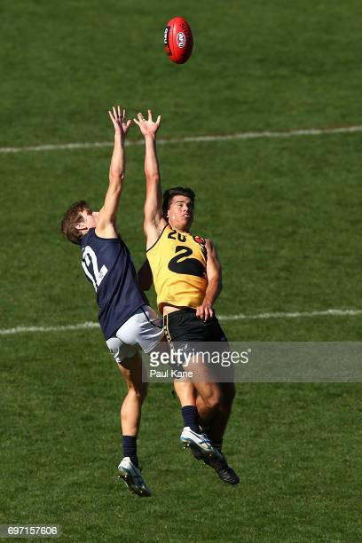 Callum Searle of Vic Metro and Brandon Starcevich of Western Australia contest for the ball during the U18 Championships match between Western...