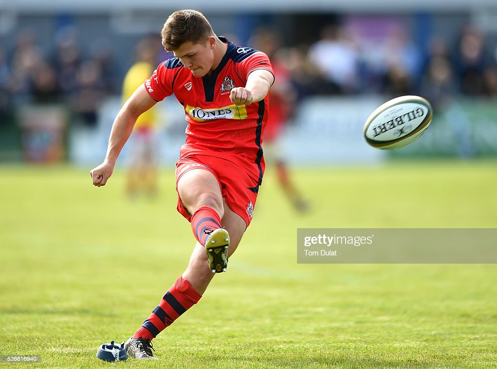 Callum Sheedy of Bristol Rugby kicks a conversion during the Greene King IPA Championship Play Off Semi Final first leg match between Bedford Blues and Bristol Rugby at Goldington Road on May 1, 2016 in Bedford, England. (Photo by Tom Dulat/Getty Images).
