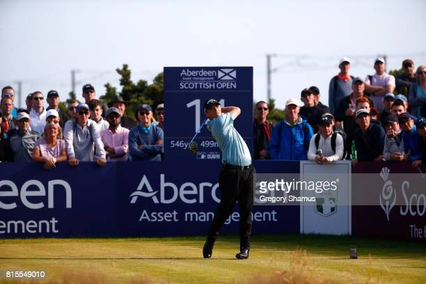 Callum Shinkwin of England tees off on the 14th hole during the final round of the AAM Scottish Open at Dundonald Links Golf Course on July 16 2017...