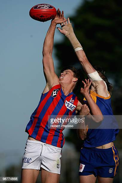 Callum Sinclair of Port Melbourne contests the ruck during the round four VFL match between Williamstown and Port Melbourne at Burbank Oval on May 1...
