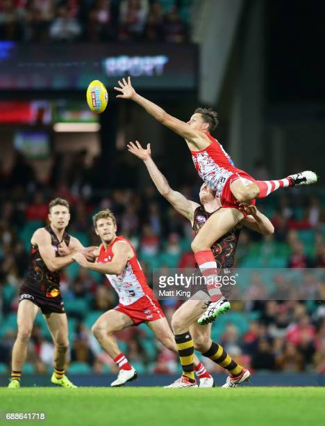 Callum Sinclair of the Swans competes for the ball during the round 10 AFL match between the Sydney Swans and the Hawthorn Hawks at Sydney Cricket...