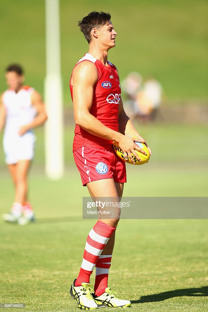 Callum Sinclair watches on during warm-up ahead of the Sydney Swans AFL intra-club match at Henson Park on February 12, 2016 in Sydney, Australia.