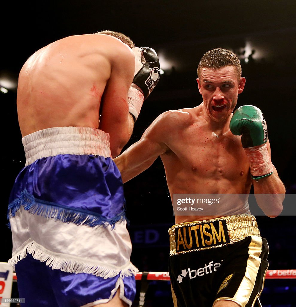 Callum Smith (R) in action with Dan Blackwell during their Middleweight Fight at Nottingham Capital FM Arena on November 17, 2012 in Nottingham, England.