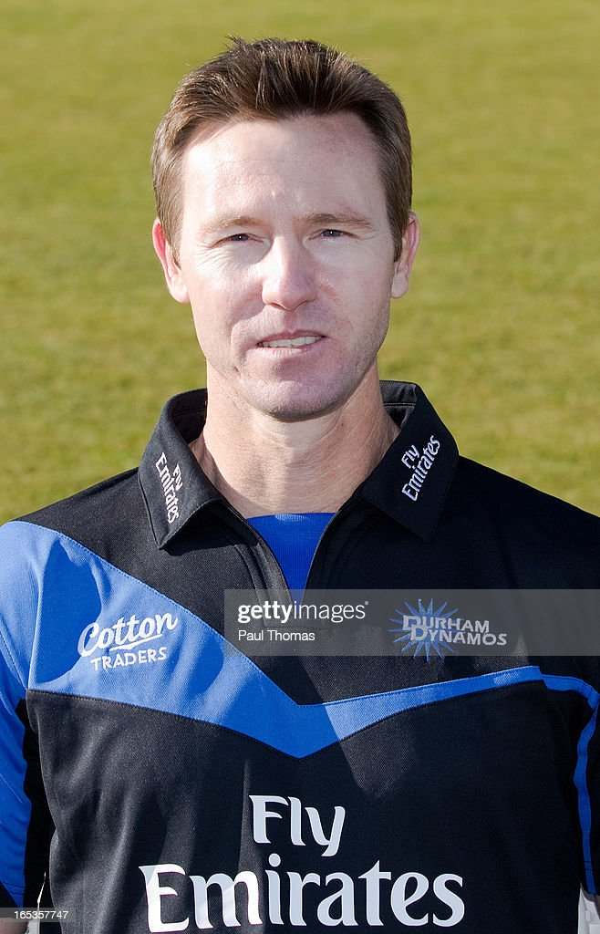 Callum Thorpe of Durham CCC wears the FriendsLife T20 kit during a pre-season photocall at The Riverside on April 3, 2013 in Chester-le-Street, England.