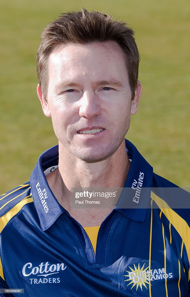 Callum Thorpe of Durham CCC wears the Yorkshire Bank 40 kit during a pre-season photocall at The Riverside on April 3, 2013 in Chester-le-Street, England.