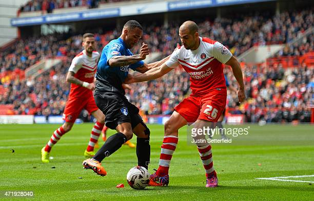 Callum Wilson of AFC Bournemouth and Tal Ben Haim of Charlton during the Sky Bet Championship match between Charlton Athletic and AFC Bournemouth at...