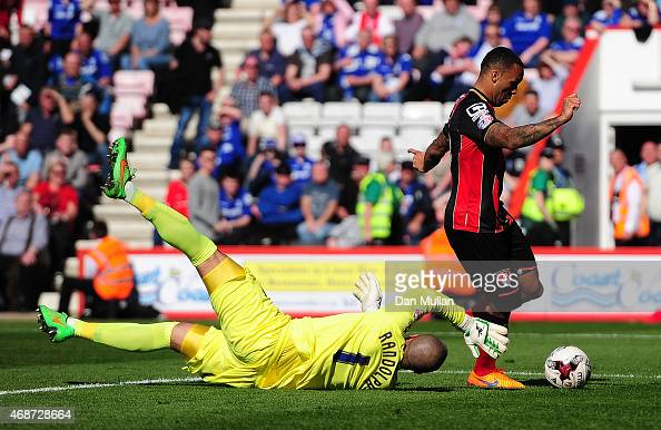 Callum Wilson of AFC Bournemouth beats Darren Randolph of Birmingham City to score his side's second goal during the Sky Bet Championship match...