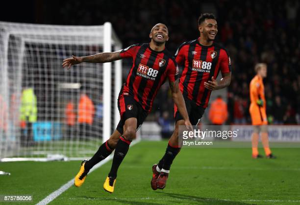 Callum Wilson of AFC Bournemouth celebrates his side's fourth and his hat trick goal during the Premier League match between AFC Bournemouth and...