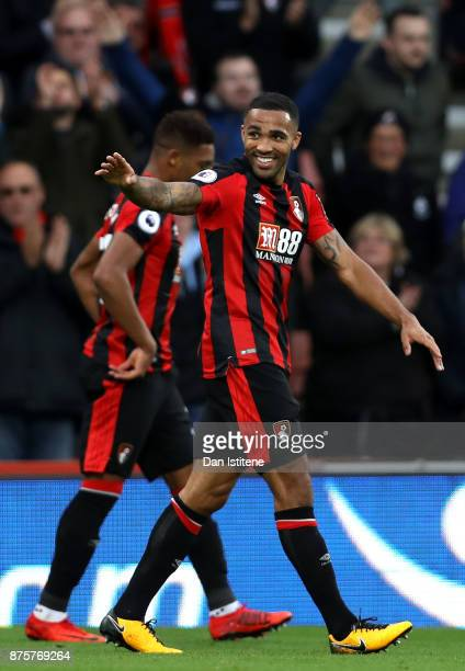 Callum Wilson of AFC Bournemouth celebrates scoring his side's second goal during the Premier League match between AFC Bournemouth and Huddersfield...