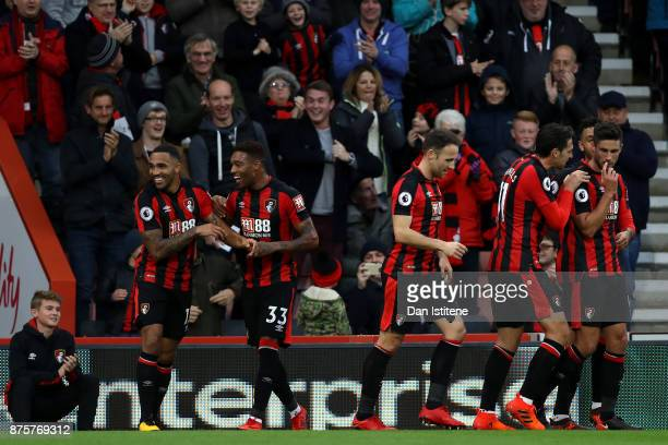 Callum Wilson of AFC Bournemouth celebrates scoring his side's second goal with his team mates during the Premier League match between AFC...