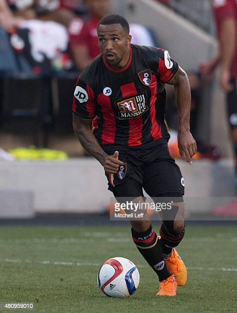 Callum Wilson of AFC Bournemouth controls the ball in the friendly match against the Philadelphia Union on July 14 2015 at the PPL Park in Chester...
