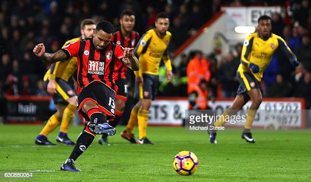 Callum Wilson of AFC Bournemouth converts the penalty to score his side's second goal during the Premier League match between AFC Bournemouth and...