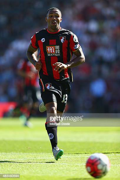 Callum Wilson of AFC Bournemouth during the Barclays Premier League match between Bournemouth and Aston Villa at the Vitality Stadium on August 8...