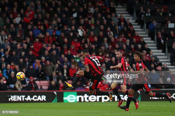 Callum Wilson of AFC Bournemouth scores his side's second goal during the Premier League match between AFC Bournemouth and Huddersfield Town at...