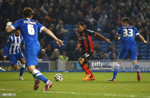 Callum Wilson of Bournemouth beats the Brighton defence to score their second goal during the Sky Bet Championship match between Brighton Hove Albion...
