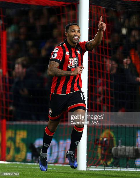 Callum Wilson of Bournemouth celebrates after he scores a goal to make it 20 during the Premier League match between AFC Bournemouth and Arsenal at...