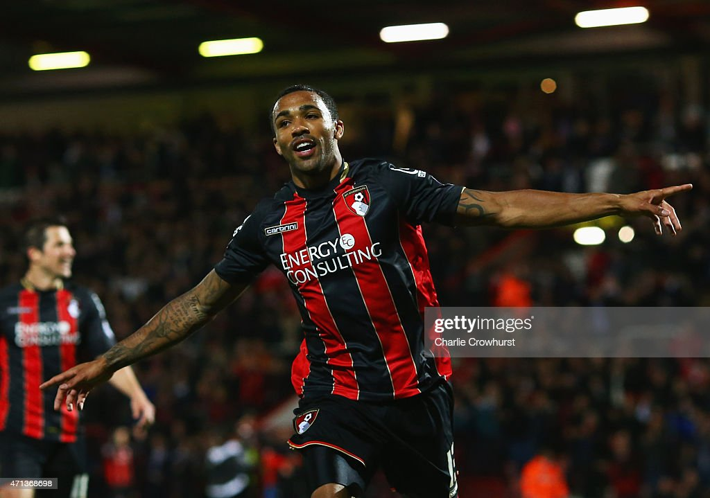 Callum Wilson of Bournemouth celebrates as he scores their third goal during the Sky Bet Championship match between AFC Bournemouth and Bolton Wanderers at Goldsands Stadium on April 27, 2015 in Bournemouth, England.