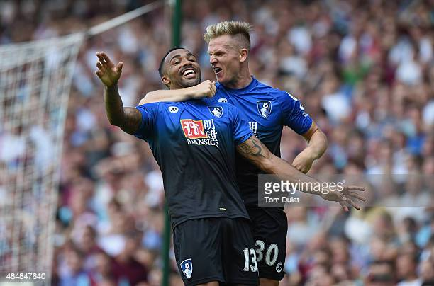 Callum Wilson of Bournemouth celebrates scoring his team's second goal with his team mate Matt Ritchie during the Barclays Premier League match...