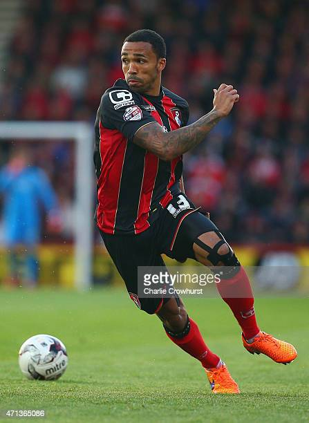 Callum Wilson of Bournemouth in action during the Sky Bet Championship match between AFC Bournemouth and Bolton Wanderers at Goldsands Stadium on...