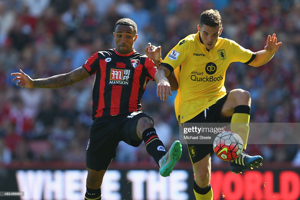 Callum Wilson (L) of Bournemouth is challenged by Ciaran Clarke of Aston Villa during the Barclays Premier League match between Bournemouth and Aston Villa at the Vitality Stadium on August 8, 2015 in Bournemouth, England.