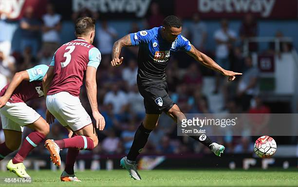 Callum Wilson of Bournemouth scores his team's second goal during the Barclays Premier League match between West Ham United and AFC Bournemouth at...