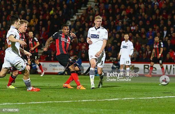 Callum Wilson of Bournemouth scores their third goal during the Sky Bet Championship match between AFC Bournemouth and Bolton Wanderers at Goldsands...